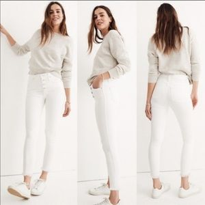 "Madewell 10"" High Rise Skinny Crop Jeans White New"